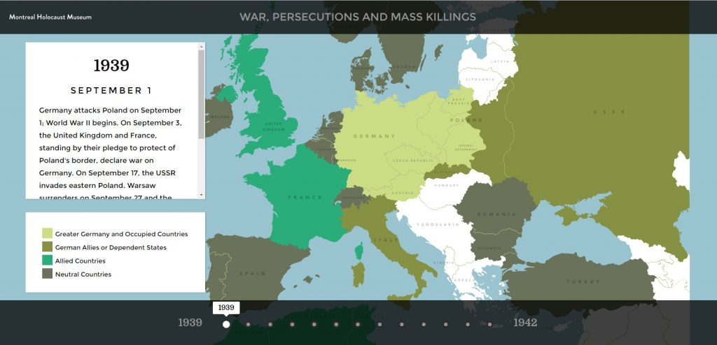Map of war, persecutions and mass killing during the Holocaust and World War II